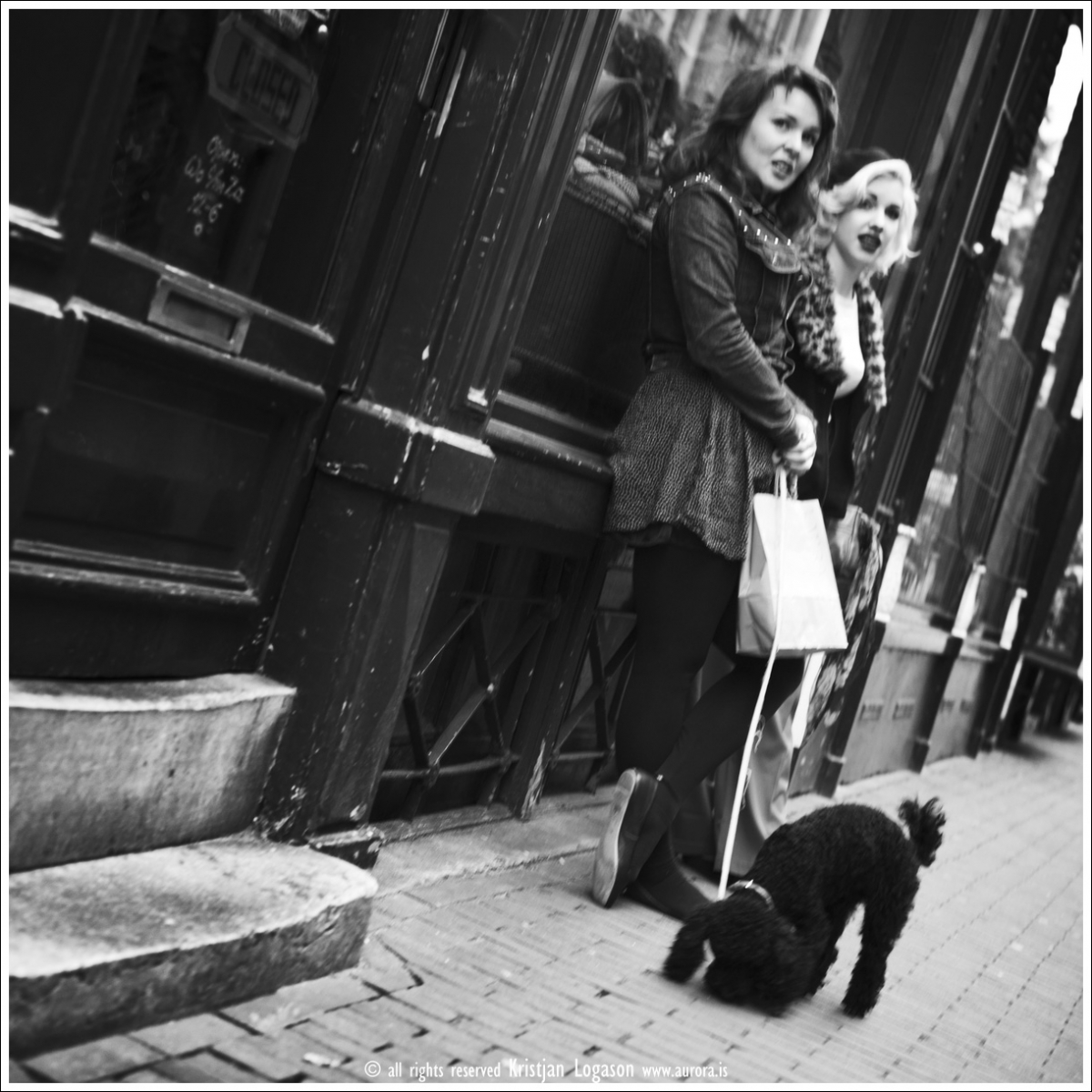 Two stylishly dressed women with dog in central Amsterdam