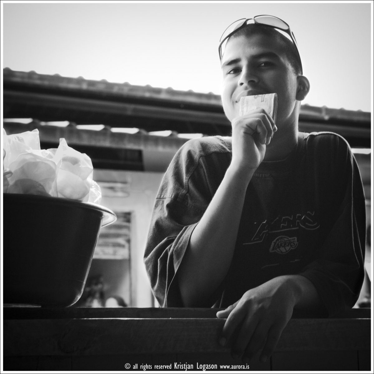 Young orphan Street vendor in Yoro, Honduras selling snack