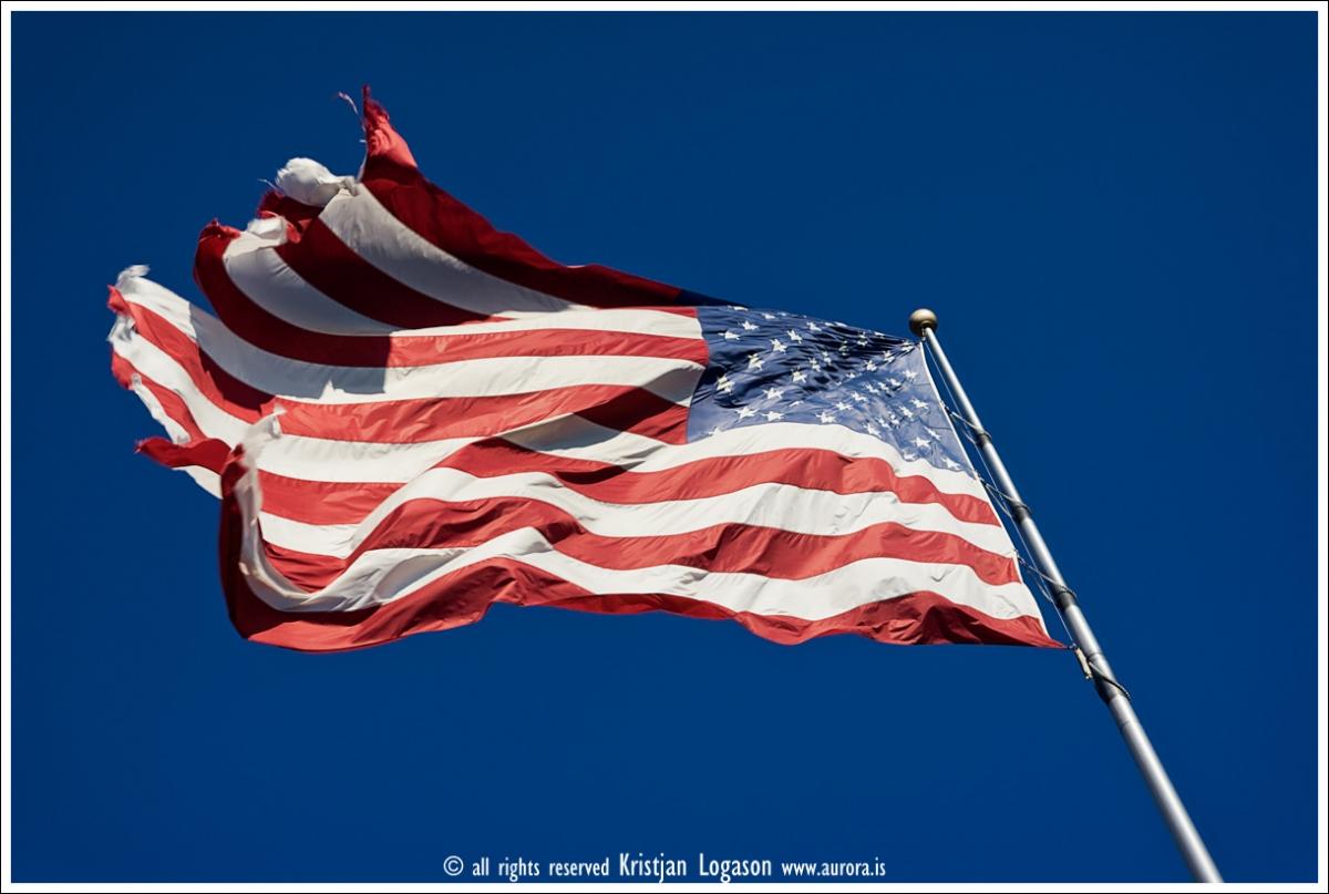 Torn american flag