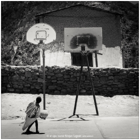 Boy playing on a Tarahumara Basketball field