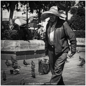 Man with sombrero and a bucket walking in Zacatecas city in Mexico