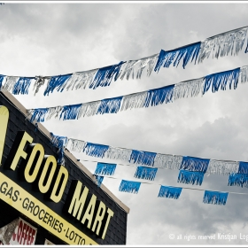 Food mart sign and decoratin in Houston Texas