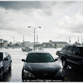 Heavy rain on carpark in Houston Texas