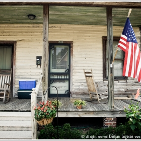 Front porch and flag