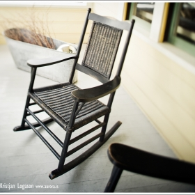 Rocking chair on a front porch of a house in Sonoma California