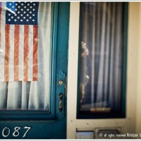 Stars and stripes in front door window